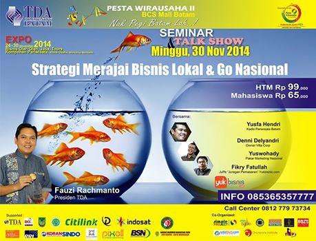 24 – 30 November 2014 Pesta Wirausaha TDA Batam – Pesta Wirausaha 15 Kota di Indonesia