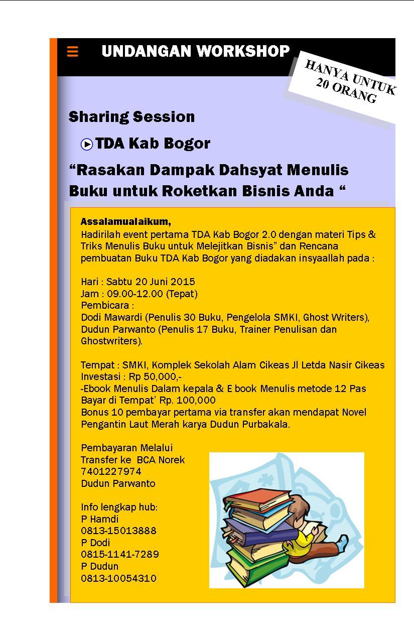 Rasakan Dampak Dahsyat Menulis Buku untuk Meroketkan Bisnis And - TDA Kab. Bogor Forum