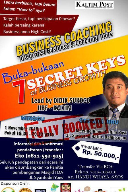 1 November 2015 Seminar '7 Secret Keys of Business Growth' – TDA Balikpapan Forum