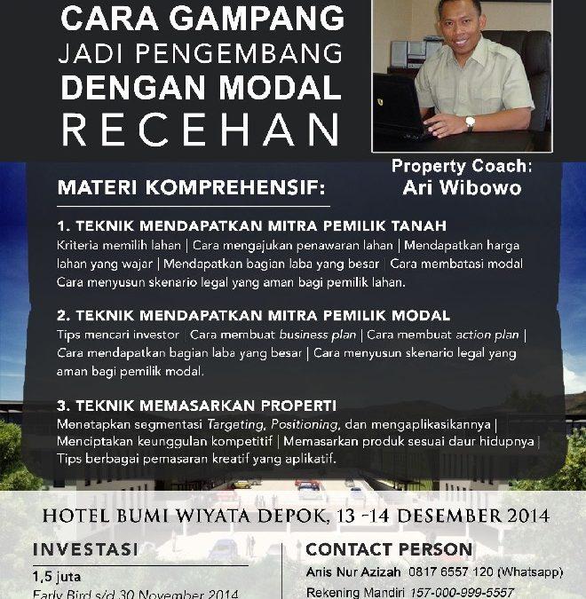 13 – 14 Desember 2014 Workshop 'Cara Gampang Jadi Pengembang' – TDA Depok Property Club Forum
