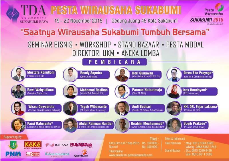 19 – 22 November Pesta Wirausaha Sukabumi – TDA Sukabumi