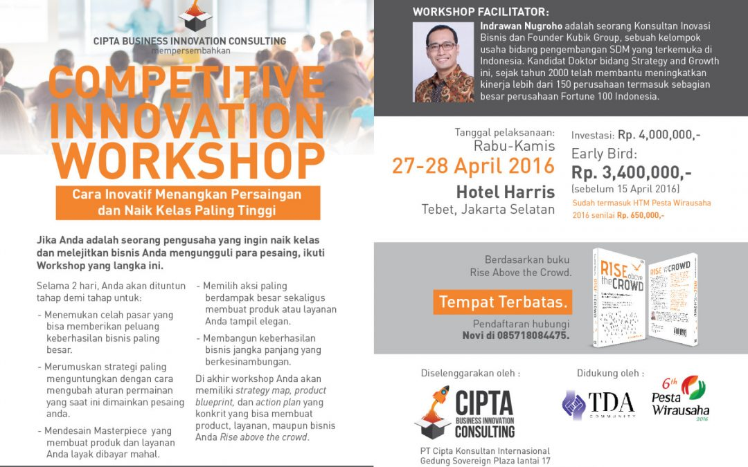 27 – 28 April 2016 Workshop 'Innovative Competition' – Road to Pesta Wirausaha