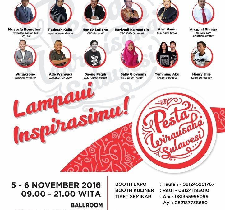 Pesta Wirausaha Sulawesi 'Lampaui Inspirasimu!' – PW Wilayah TDA Korwil Sulawesi (5-6 November 2016)