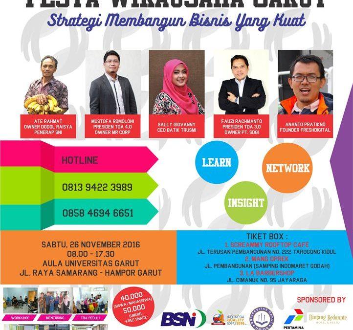 Pesta Wirausaha Garut 2016 'Strategi Membangun Bisnis yang Kuat' – PW TDA Garut (26 November 2016)