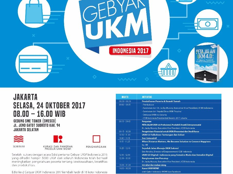 Gebyar UKM Indonesia 2017,Komunitas Tangan Di Atas berkolaborasi dengan Kementerian Koperasi dan Usaha Kecil dan Menengah, MARKPLUS.INC, International Council for Small Business (ICSB)